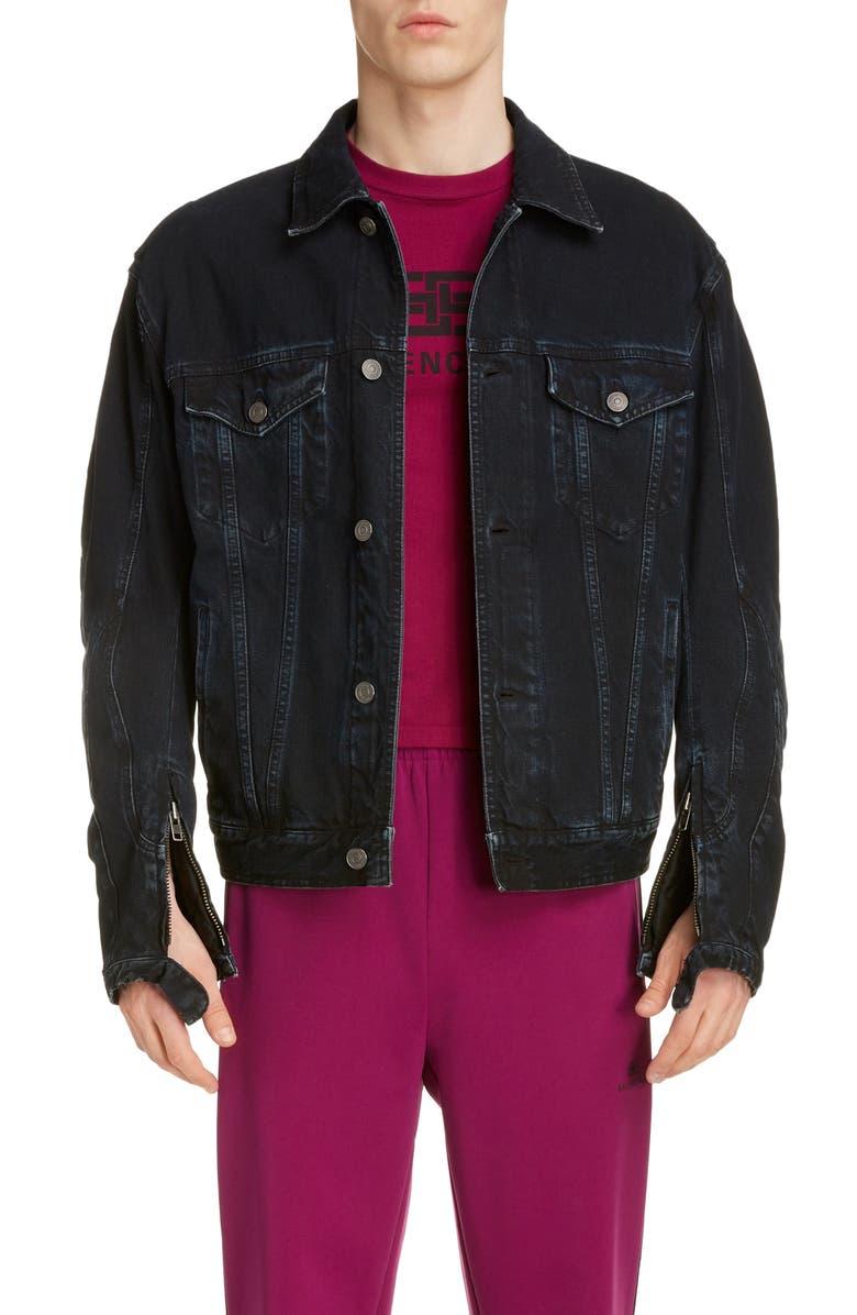 BALENCIAGA Denim Biker Jacket, Main, color, 464