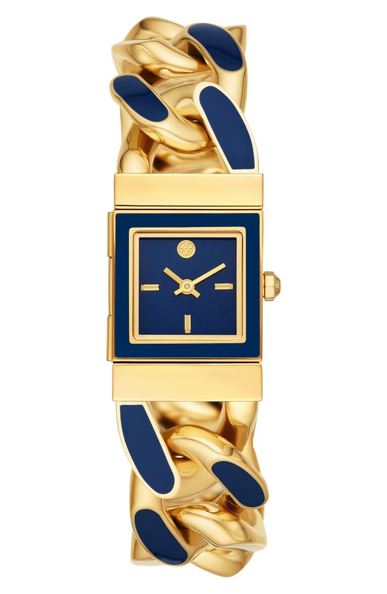 TORY BURCH The Tilda Bracelet Watch, 22mm, Main, color, GOLD/ BLUE/ GOLD