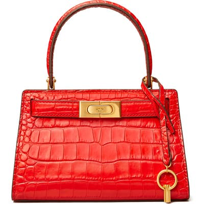 Tory Burch Lee Radziwill Croc Embossed Leather Tote - Red