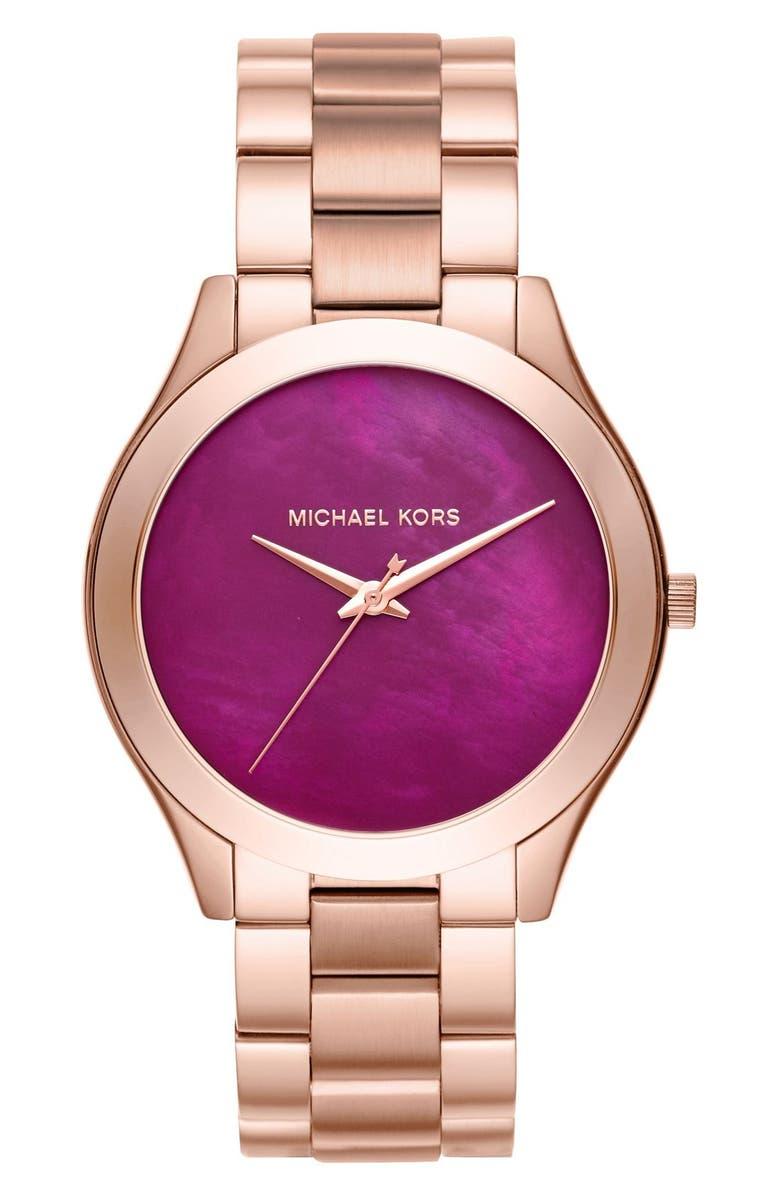 MICHAEL MICHAEL KORS 'Slim Runway' Bracelet Watch, 42mm, Main, color, 710