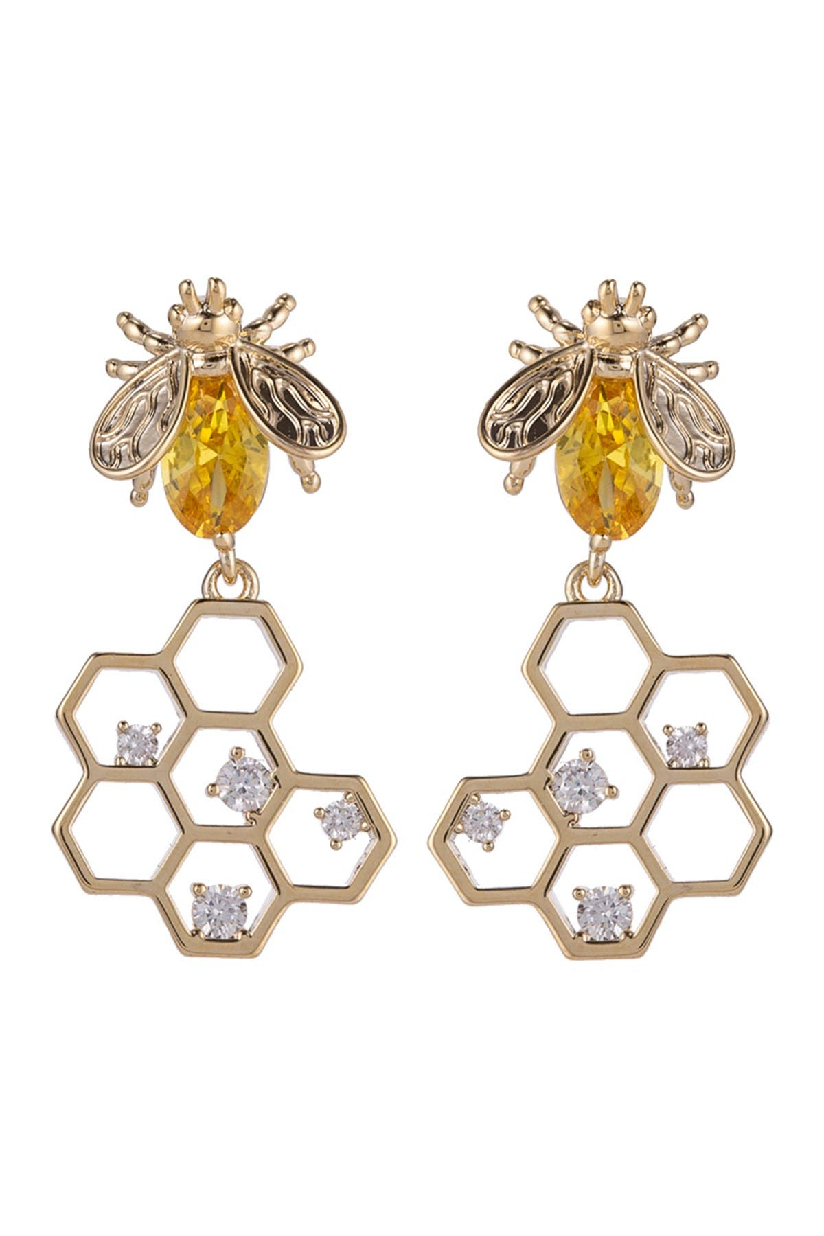 Eye Candy Los Angeles 14K Yellow Gold Plated Brass Golden Honey Bee Drop CZ Crystal Earrings at Nordstrom Rack