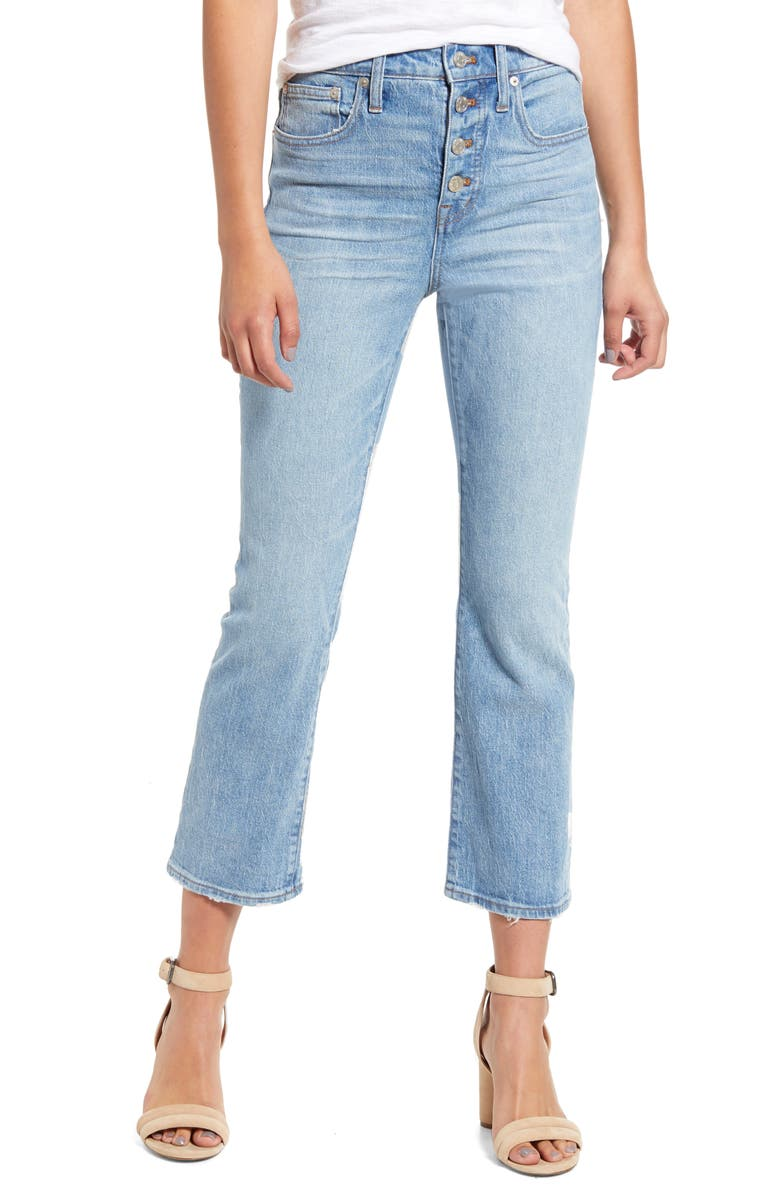 MADEWELL Cali Button Front Demi Boot Jeans, Main, color, DORY WASH