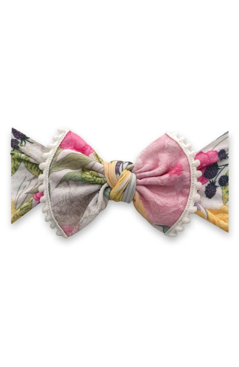 BABY BLING Pompom Trim Print Knot Headband, Main, color, RASPBERRY ROSE
