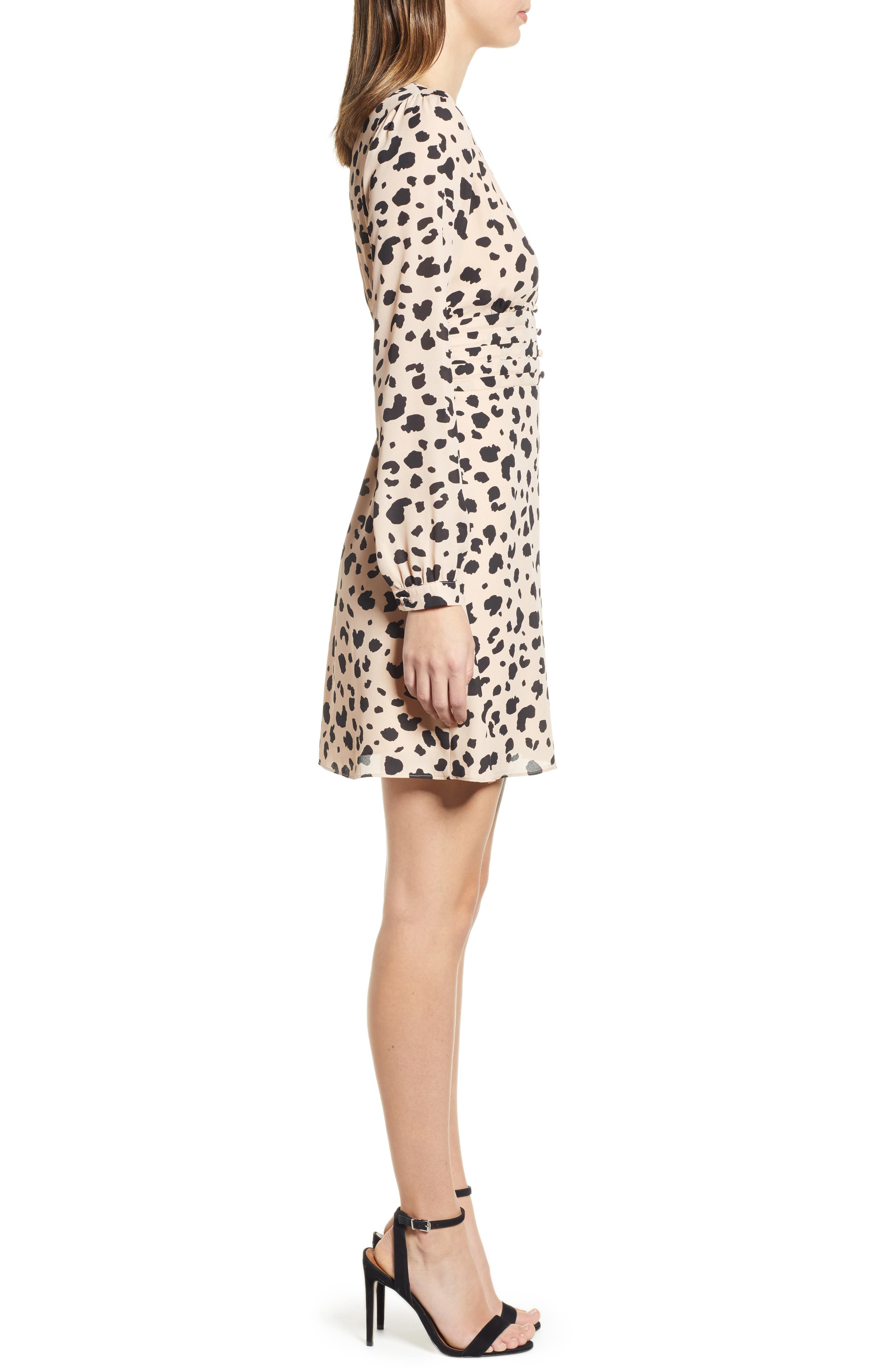 ,                             Print Button Dress,                             Alternate thumbnail 4, color,                             001