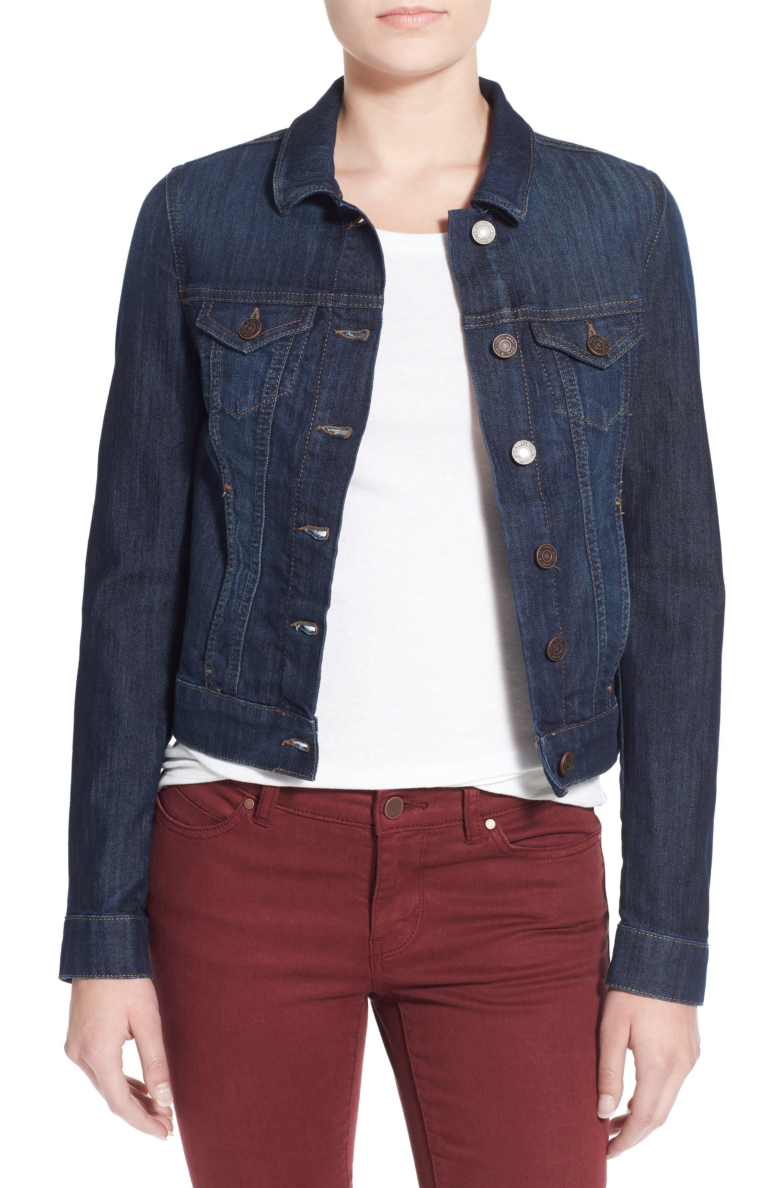'Samantha' Denim Jacket, Main, color, DARK NOLITA