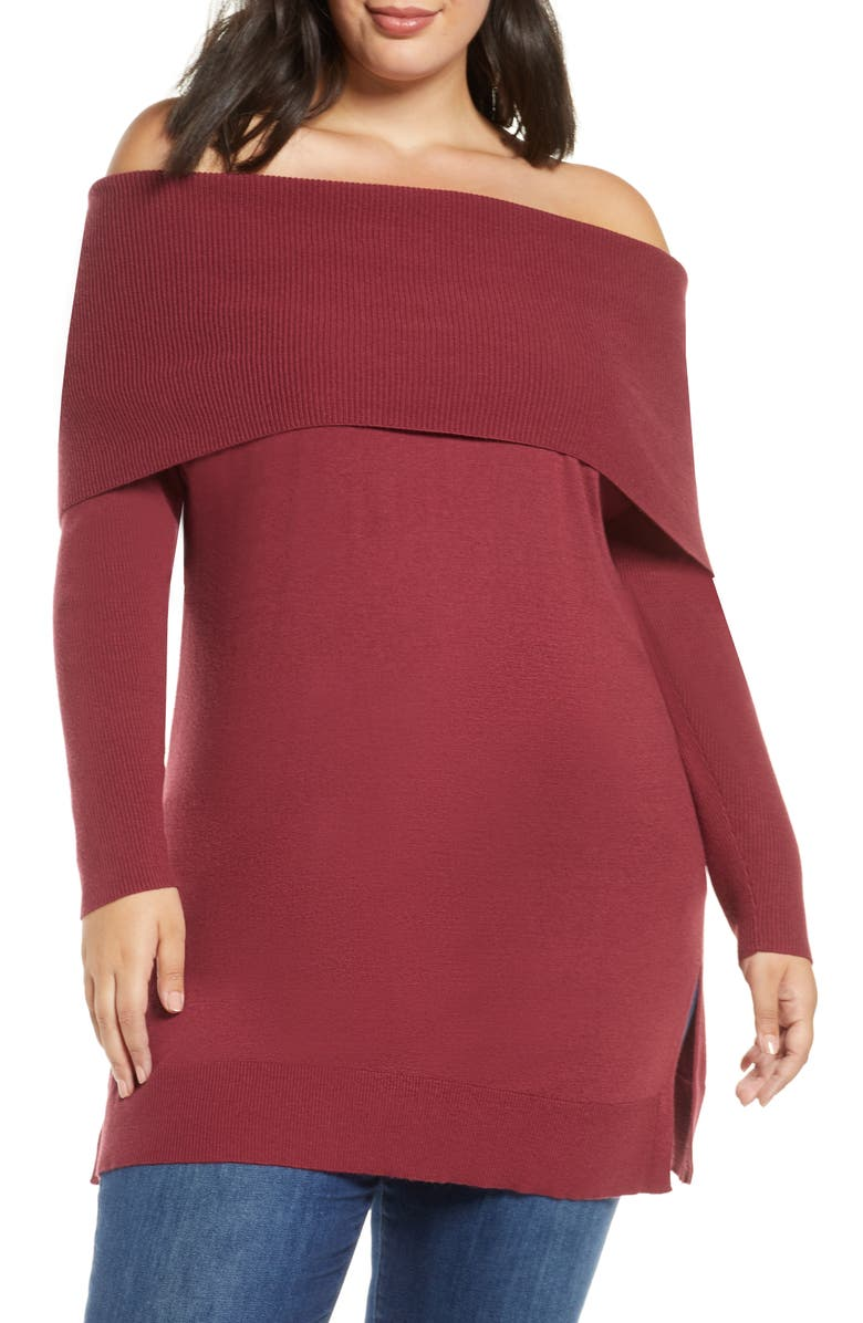 CASLON<SUP>®</SUP> Cowl Neck Tunic Sweater, Main, color, RED CORDOVAN