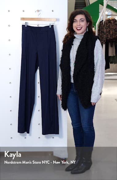 Pleat Front Pull-On Linen Blend Trousers, sales video thumbnail