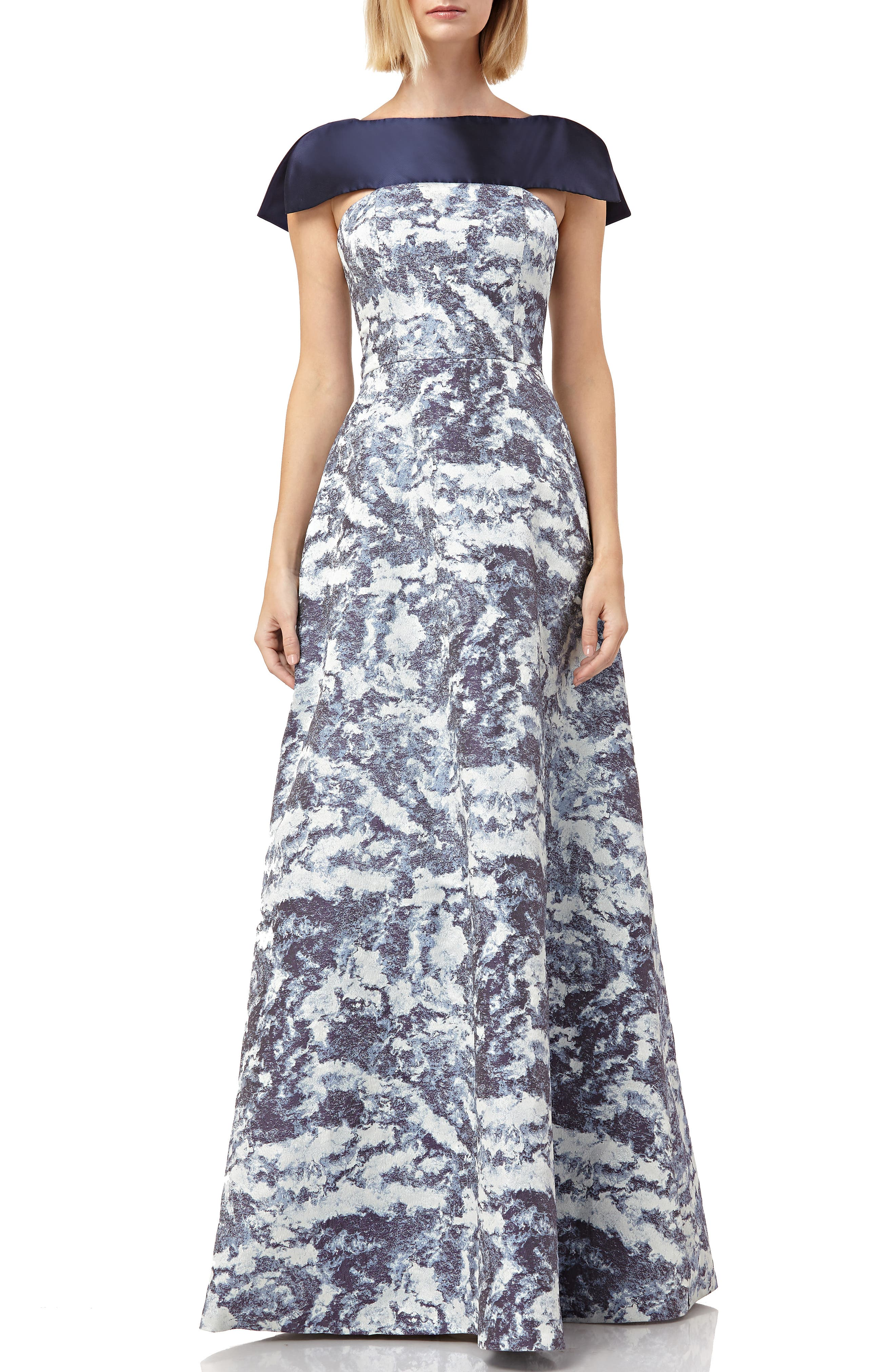 Kay Unger Jacquard Gown, Blue