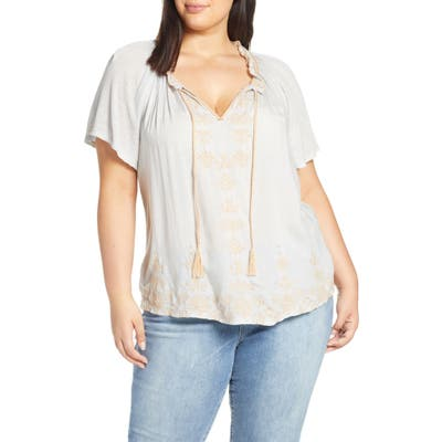 Plus Size Lucky Brand Embroidered Peasant Top, Blue