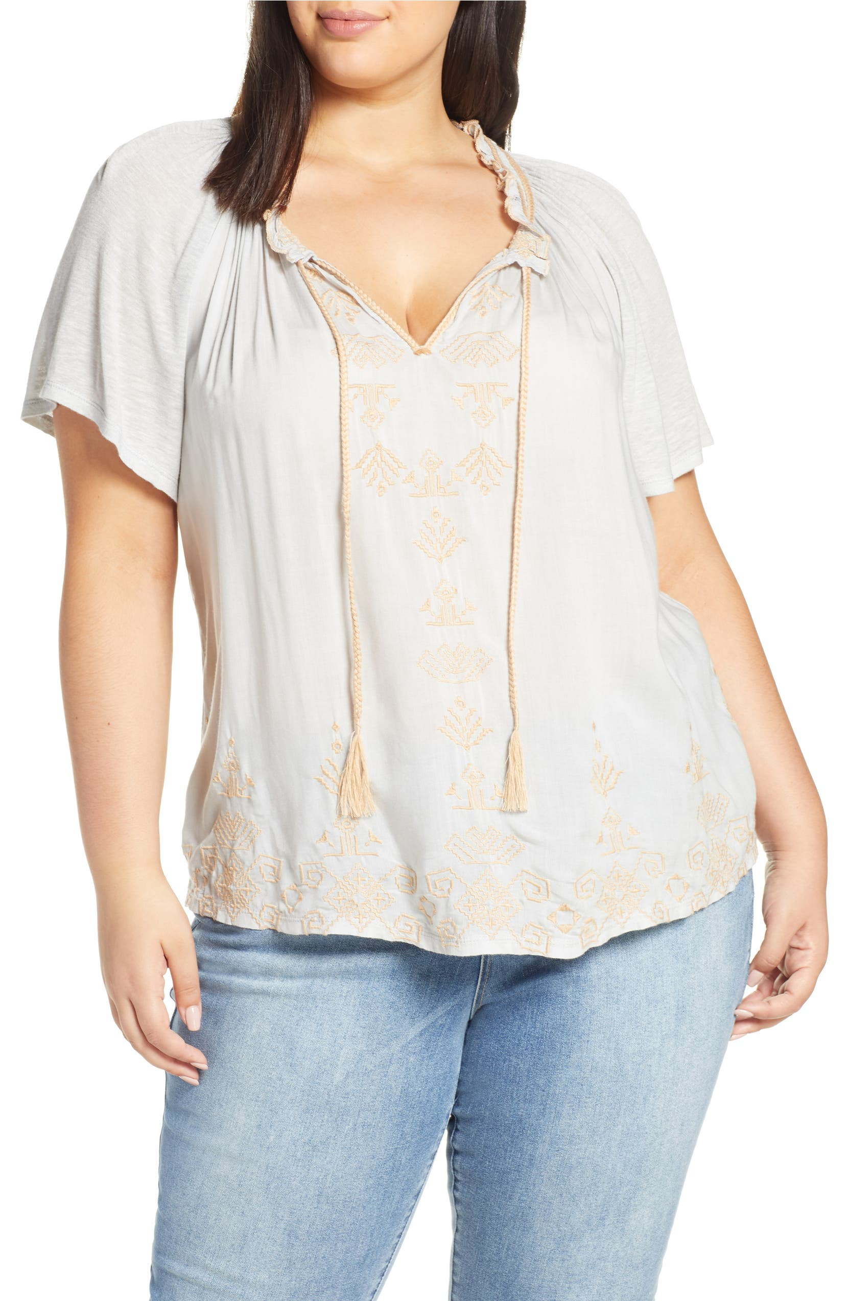 e35818c5874472 Lucky Brand Embroidered Peasant Top (Plus Size)   Nordstrom