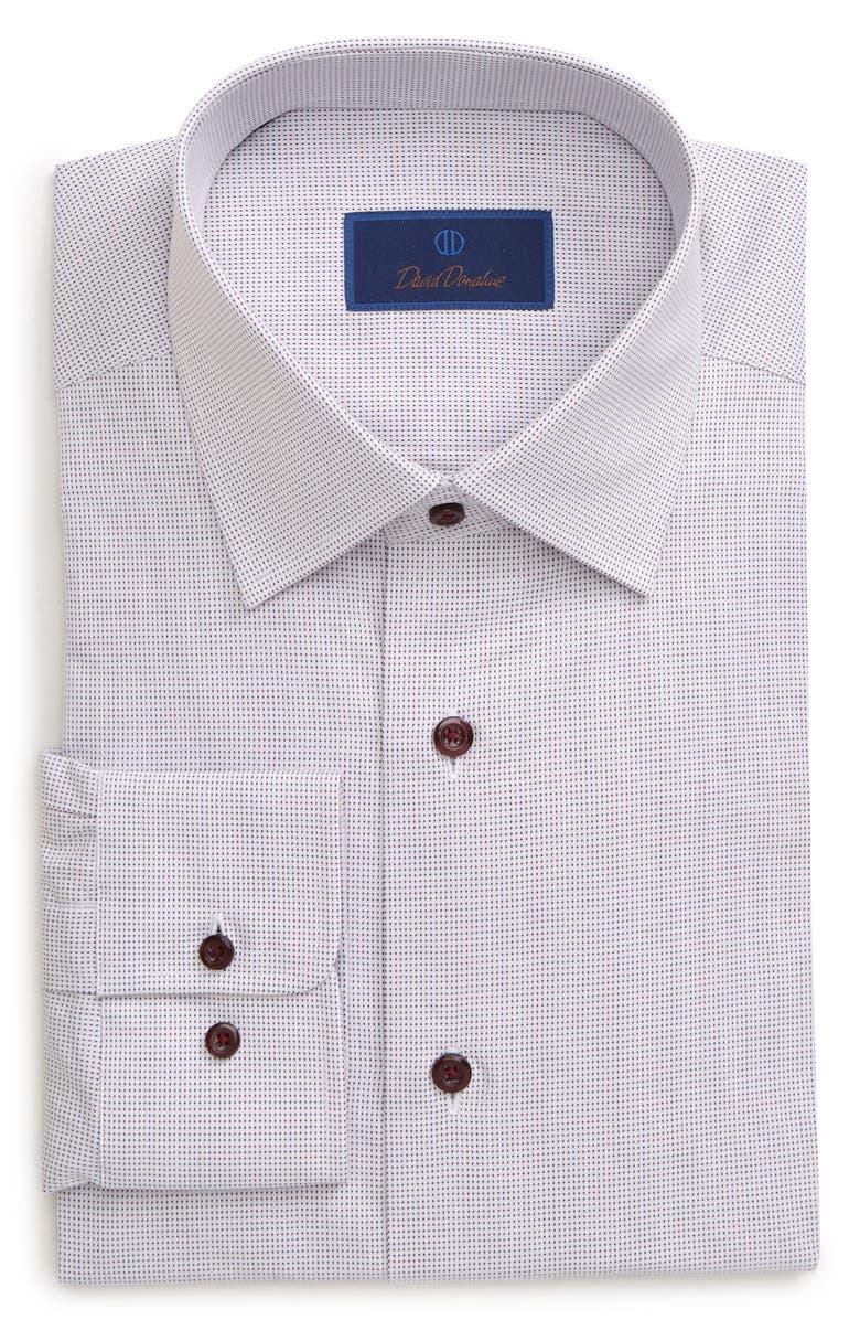 DAVID DONAHUE Regular Fit Print Dress Shirt, Main, color, WHITE/ MERLOT