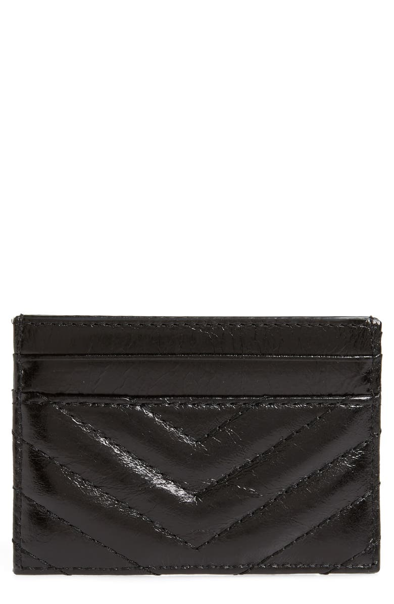 REBECCA MINKOFF Edie Leather Card Case, Main, color, 001
