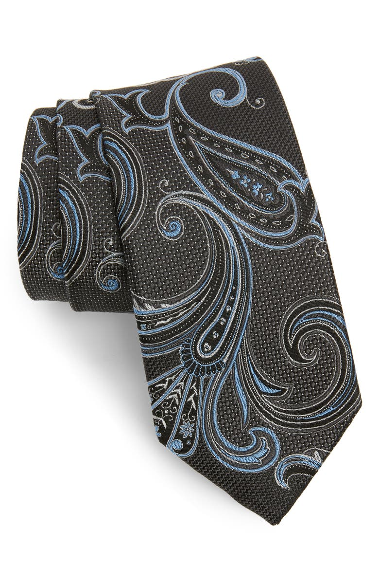NORDSTROM MEN'S SHOP Bryce Paisley Silk Tie, Main, color, 010