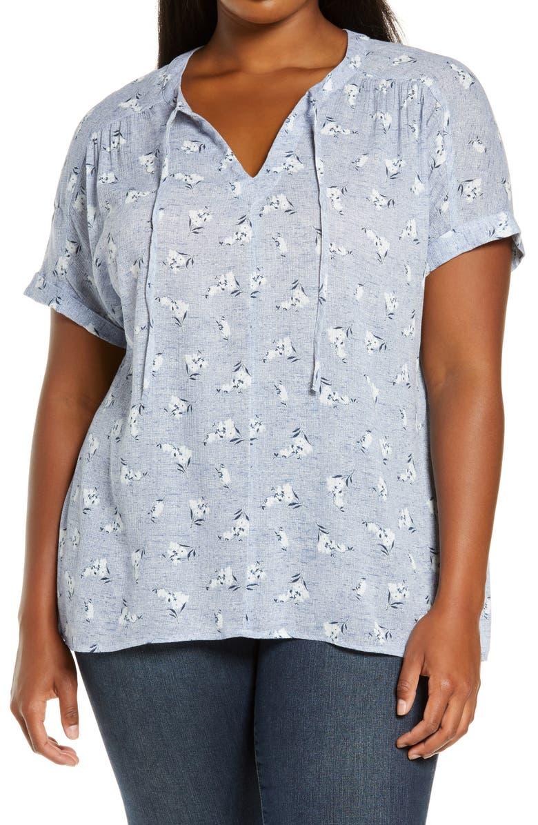 CASLON<SUP>®</SUP> Print Split Neck Top, Main, color, BLUE EMILENE FLORAL