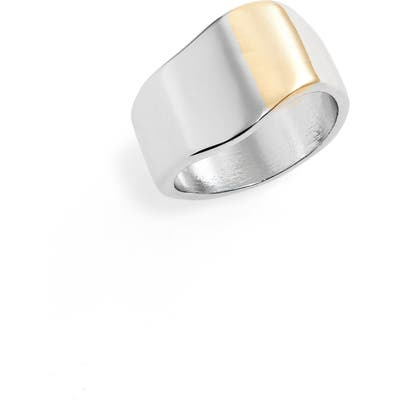 Halogen Two Tone Wavy Band Ring