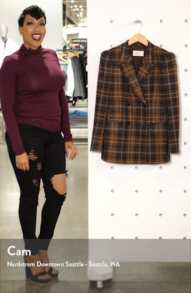 Alex Plaid Double Breasted Roped Shoulder Wool & Cashmere Jacket, sales video thumbnail