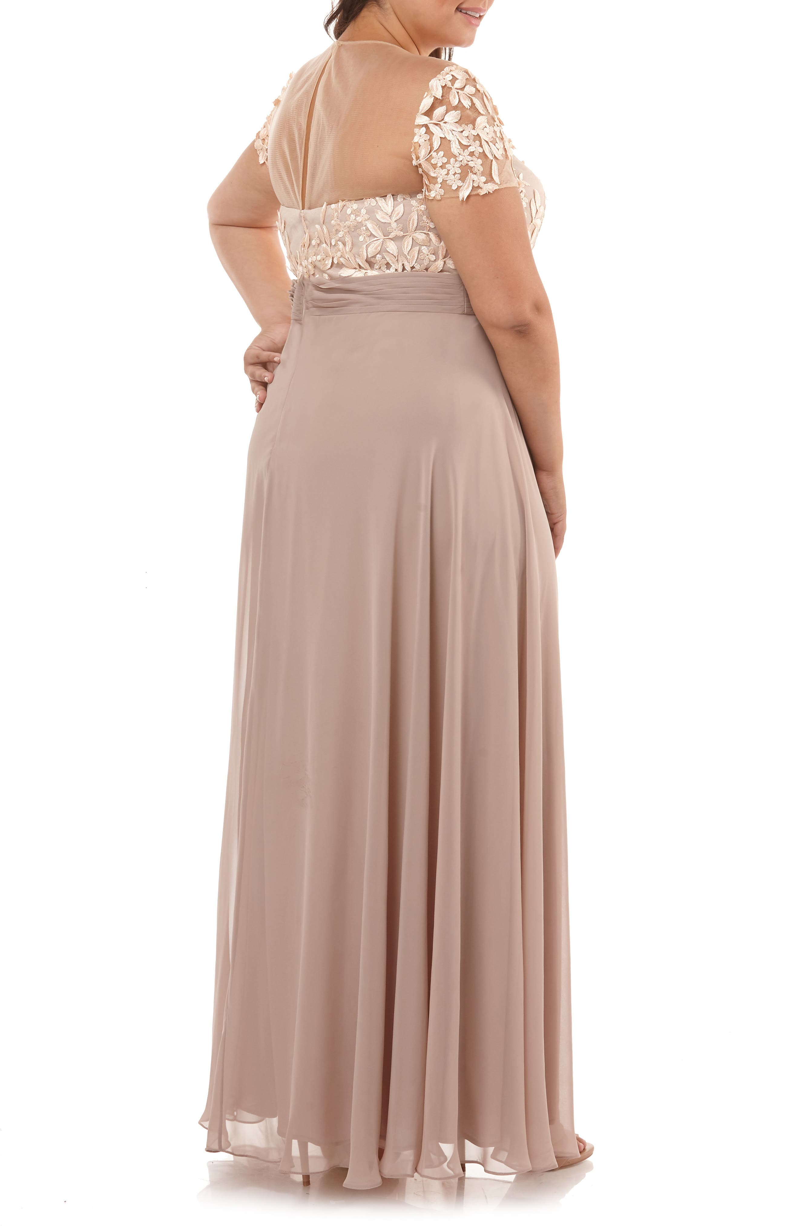 ,                             Floral Embroidered Chiffon Gown,                             Alternate thumbnail 2, color,                             BLUSH NUDE