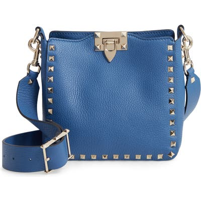 Valentino Garavani Rockstud Mini Hobo Crossbody Bag - Blue