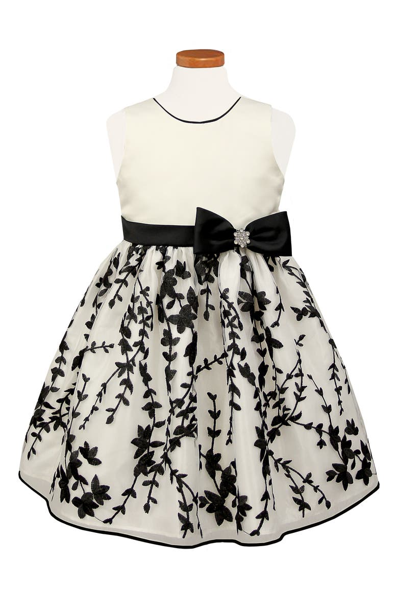 SORBET Embroidered Fit & Flare Dress, Main, color, OFF-WHITE