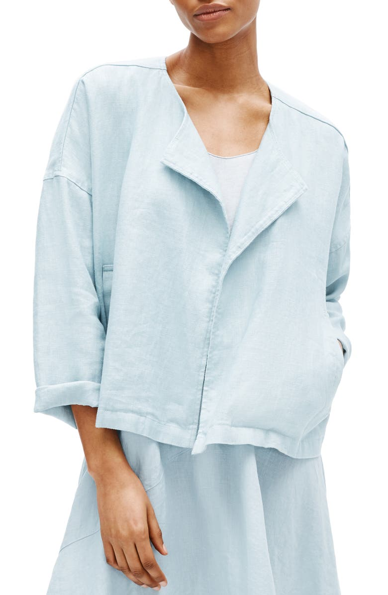 EILEEN FISHER Heavy Organic Linen Drape Front Jacket, Main, color, DAWN