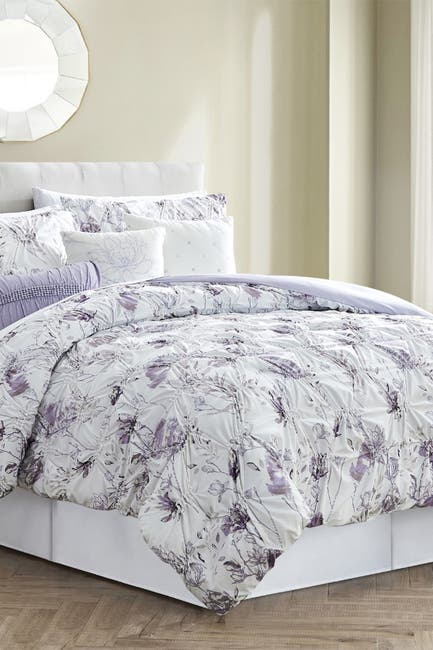 Image of Modern Threads 6-Piece Ruched Comforter Set - Magnolia - Queen