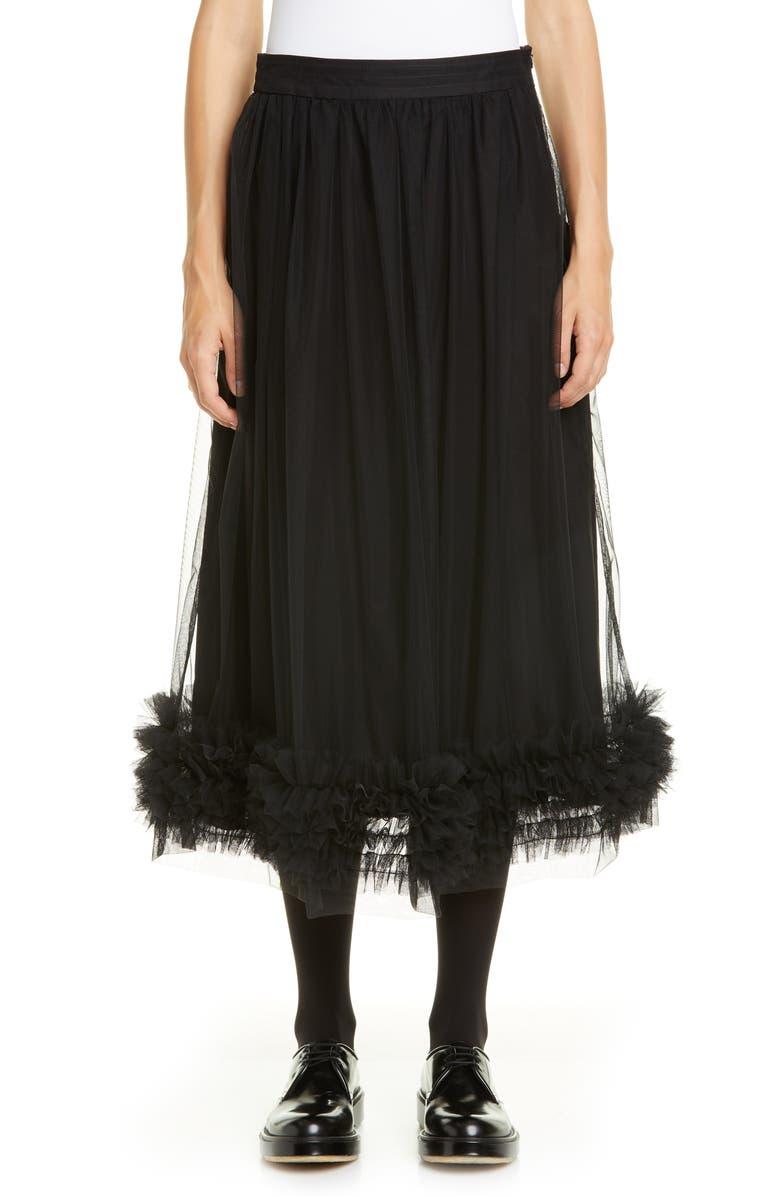 MOLLY GODDARD Leonie Tulle Midi Skirt, Main, color, BLACK