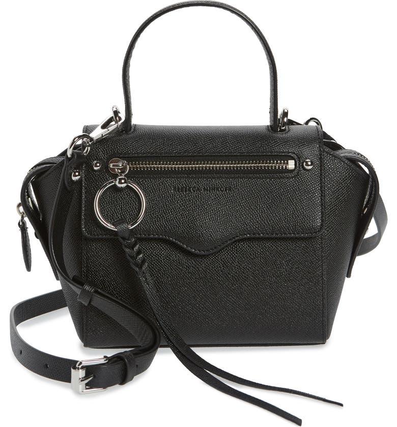 REBECCA MINKOFF Small Gabby Leather Satchel, Main, color, BLACK