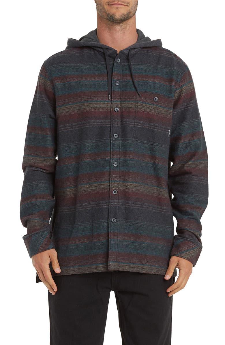 BILLABONG Baja Stripe Button-Up Flannel Hoodie, Main, color, 020