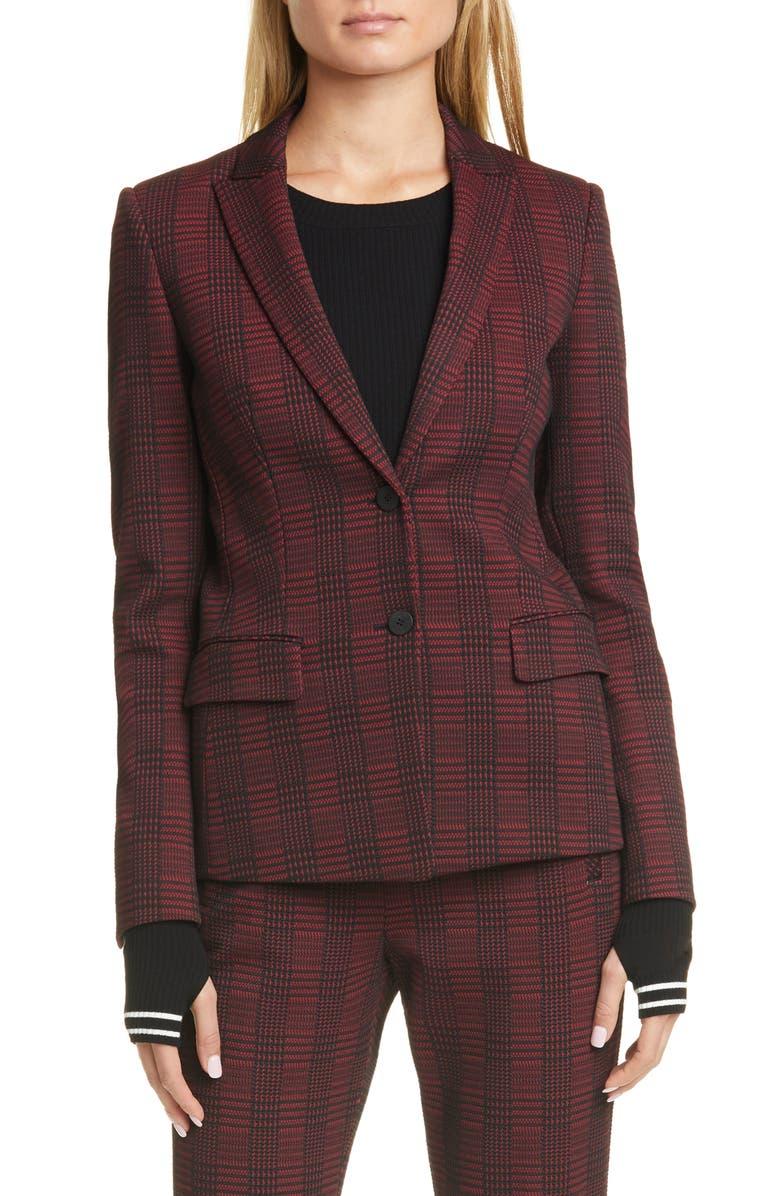 HUGO Houndstooth Plaid Long Jacket, Main, color, BRICK RED