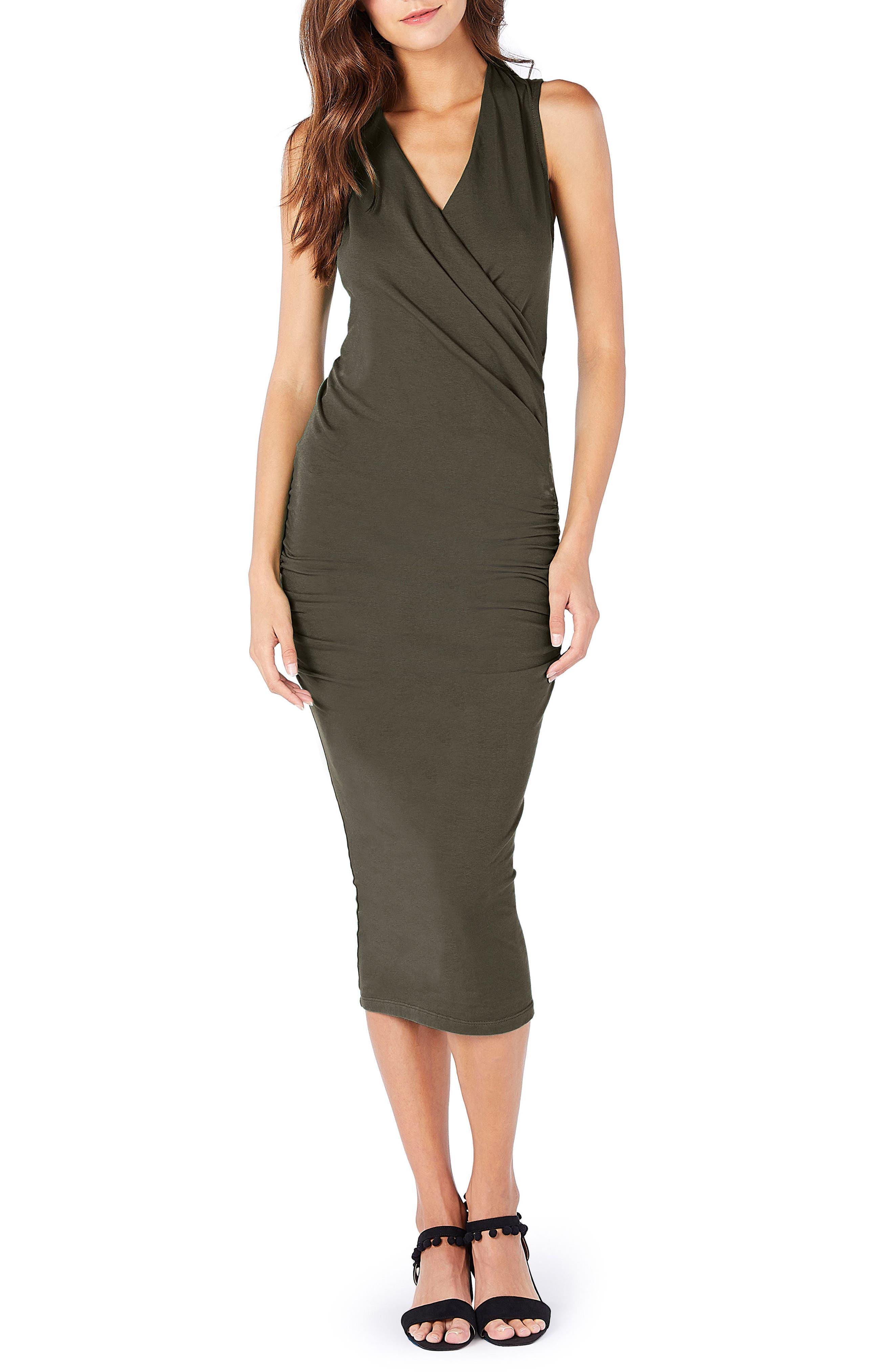 Michael Stars Faux Wrap Midi Dress, Green