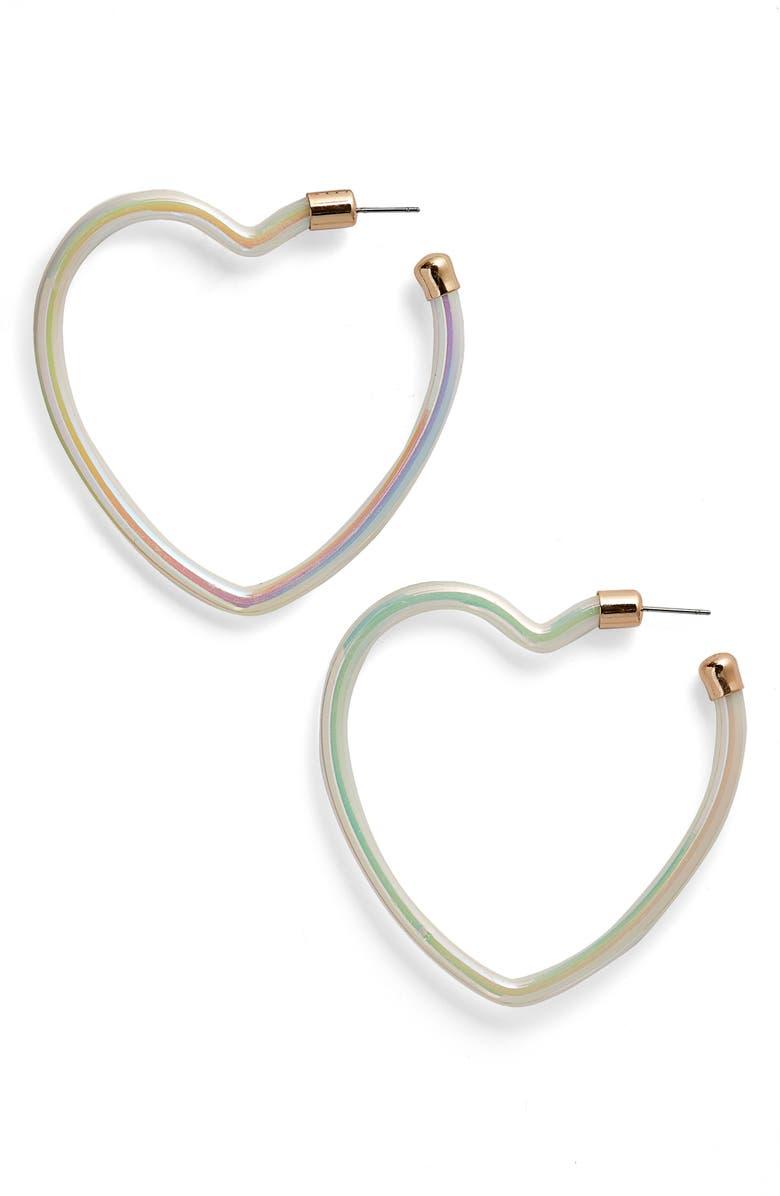 BP. Iridescent Heart Hoop Earrings, Main, color, 100