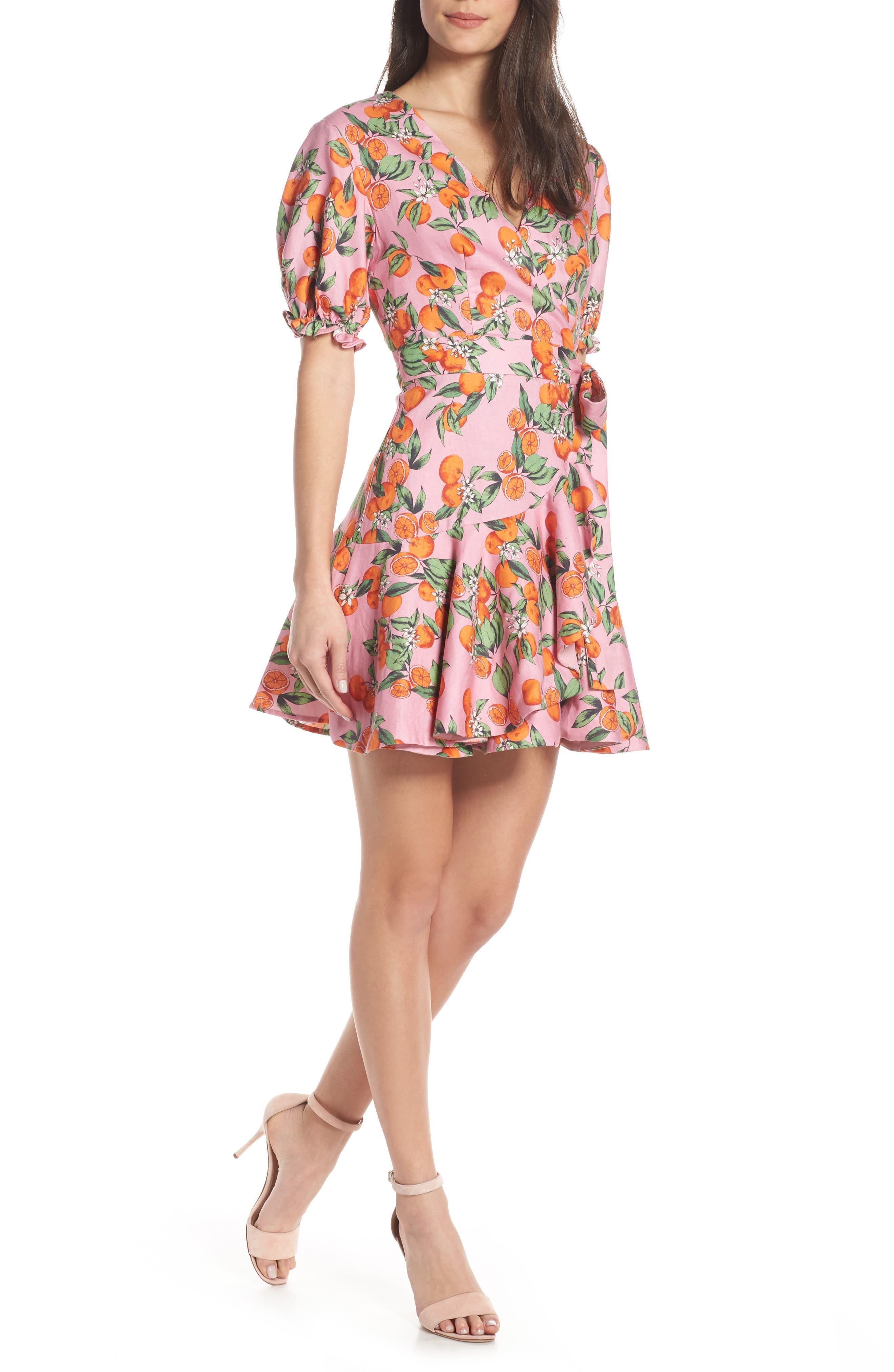 Finders Keepers Aranciata Print Wrap Dress, Pink