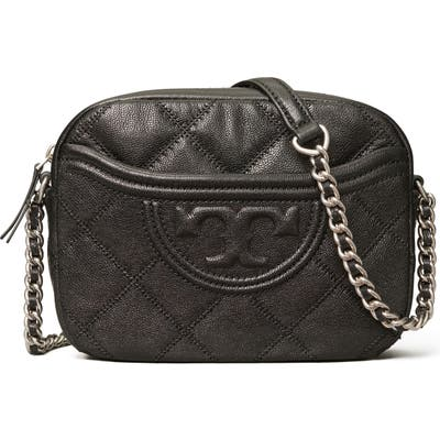 Tory Burch Fleming Distressed Quilted Leather Crossbody Bag - Black