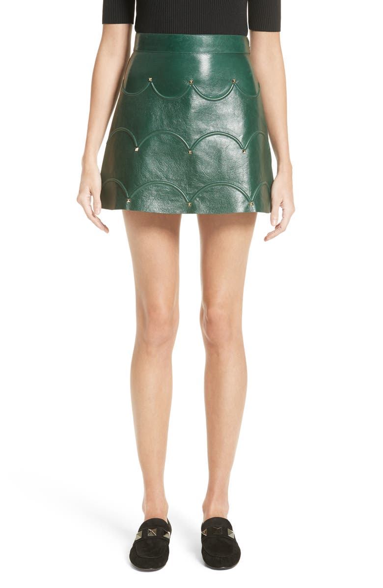 VALENTINO Scallop Detail Leather Miniskirt, Main, color, Green