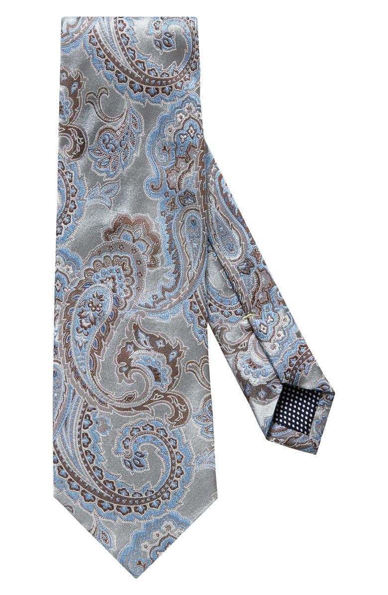 ETON Paisley Silk Tie, Main, color, GREY
