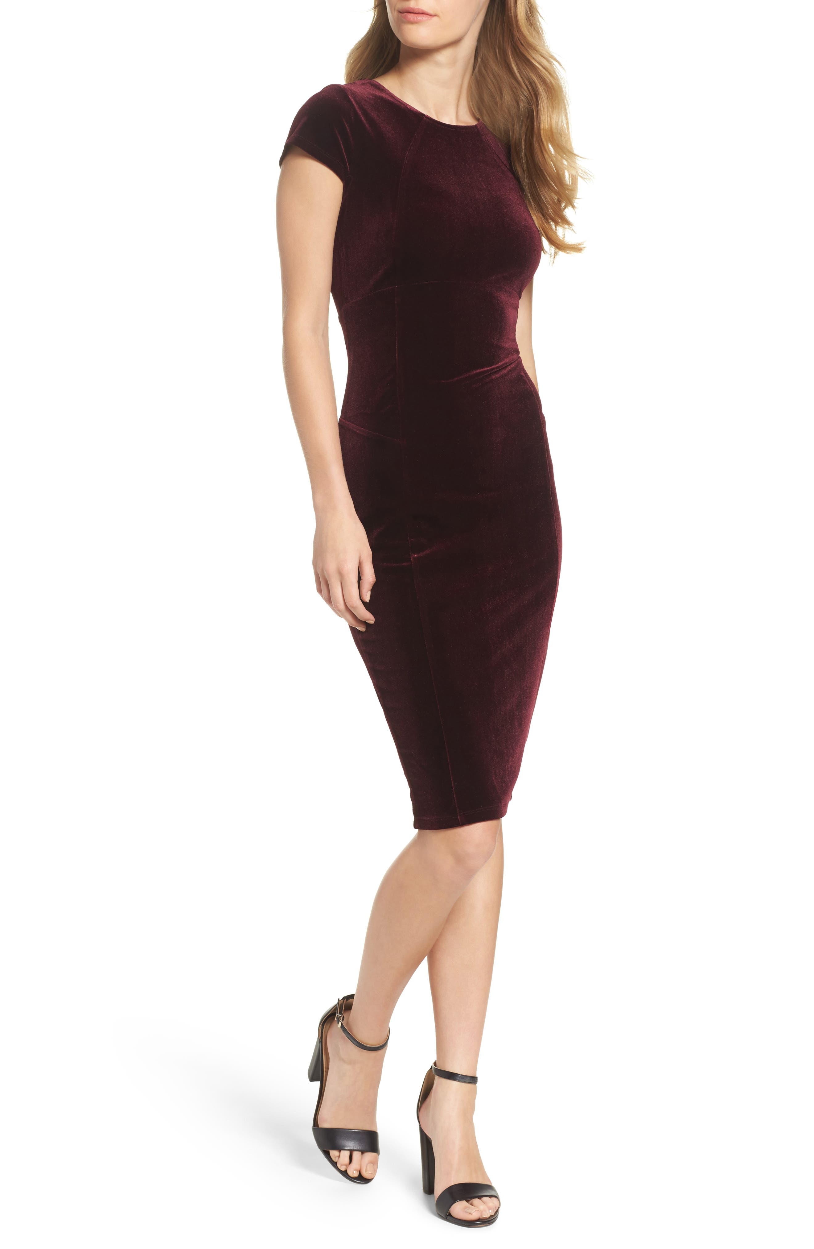 ,                             Vista Velvet Midi Dress,                             Main thumbnail 7, color,                             935