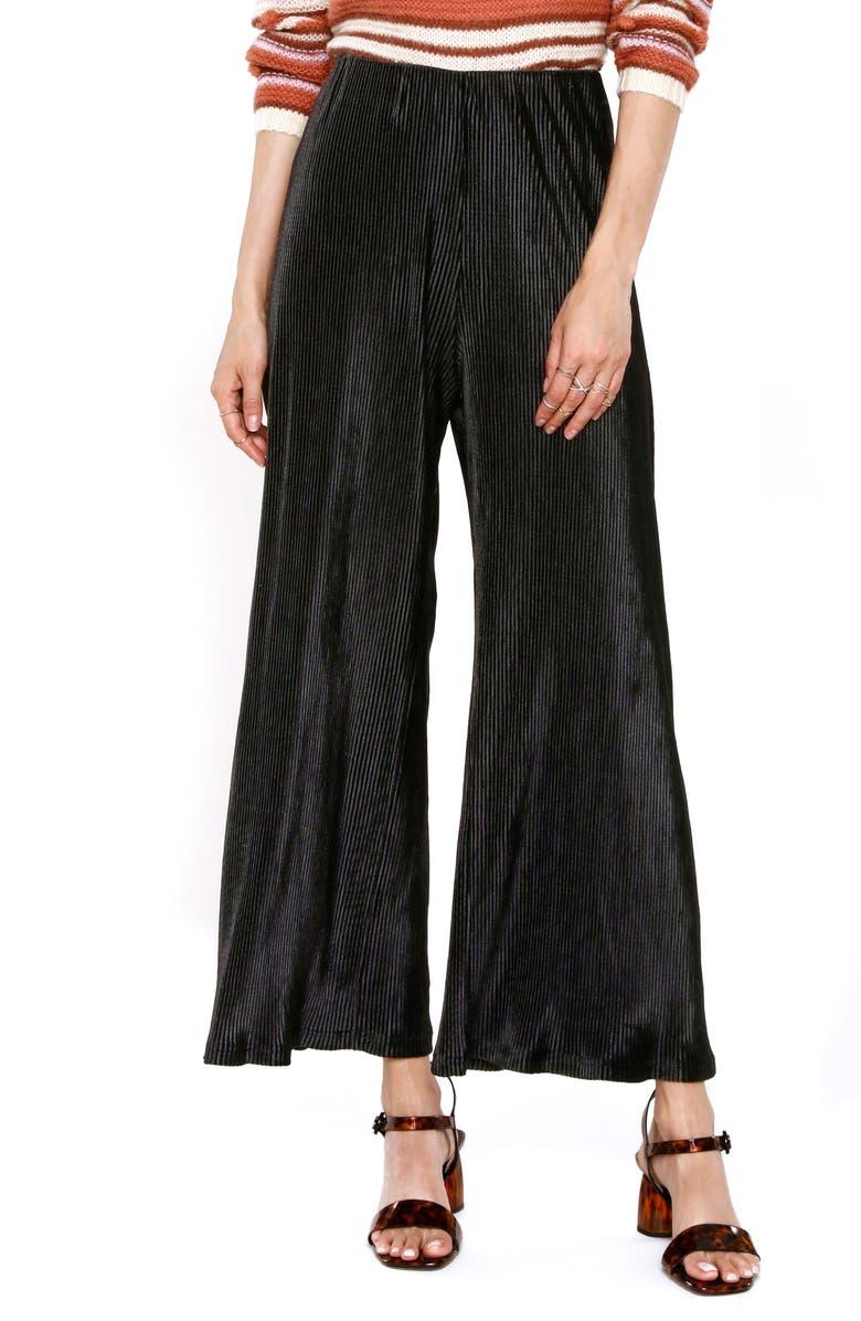 HEARTLOOM Drea Wide Leg Corduroy Pants, Main, color, BLACK
