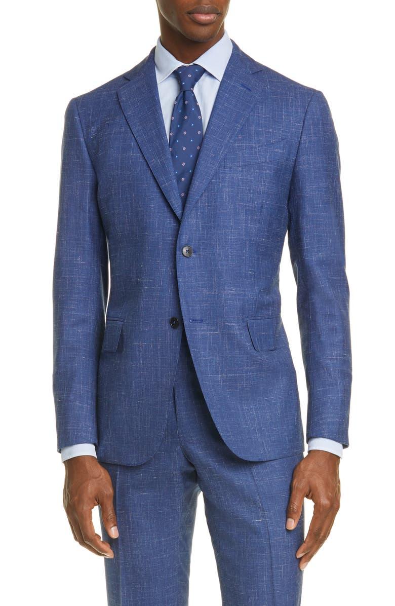 EIDOS Balthazar Trim Fit Mélange Wool & Linen Sport Coat, Main, color, 433