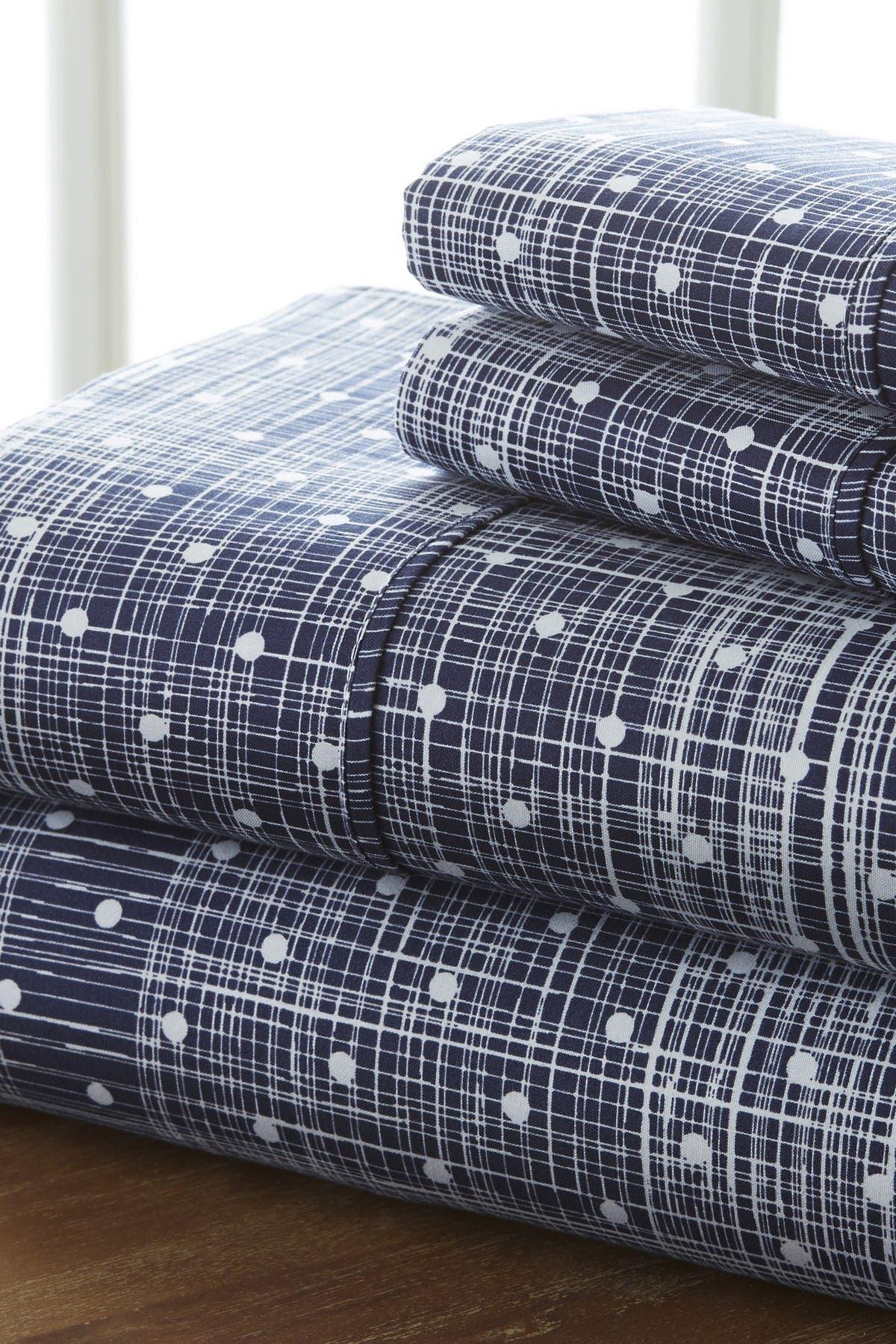 Image of IENJOY HOME Home Spun Premium Ultra Soft Polka Dot Pattern 3-Piece Twin Bed Sheet Set - Navy