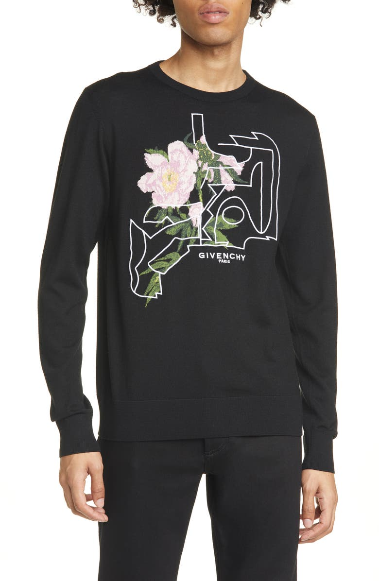 GIVENCHY Peony Jacquard Crewneck Sweater, Main, color, BLACK/PINK