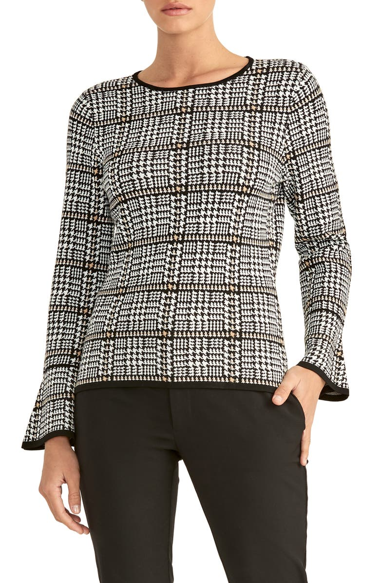 RACHEL ROY COLLECTION Plaid Flare Sleeve Sweater, Main, color, 250