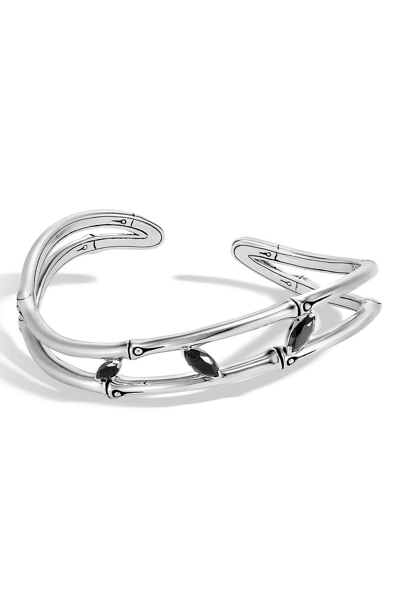 JOHN HARDY Bamboo Collection Sterling Silver & Spinel Flex Cuff Bracelet, Main, color, 001
