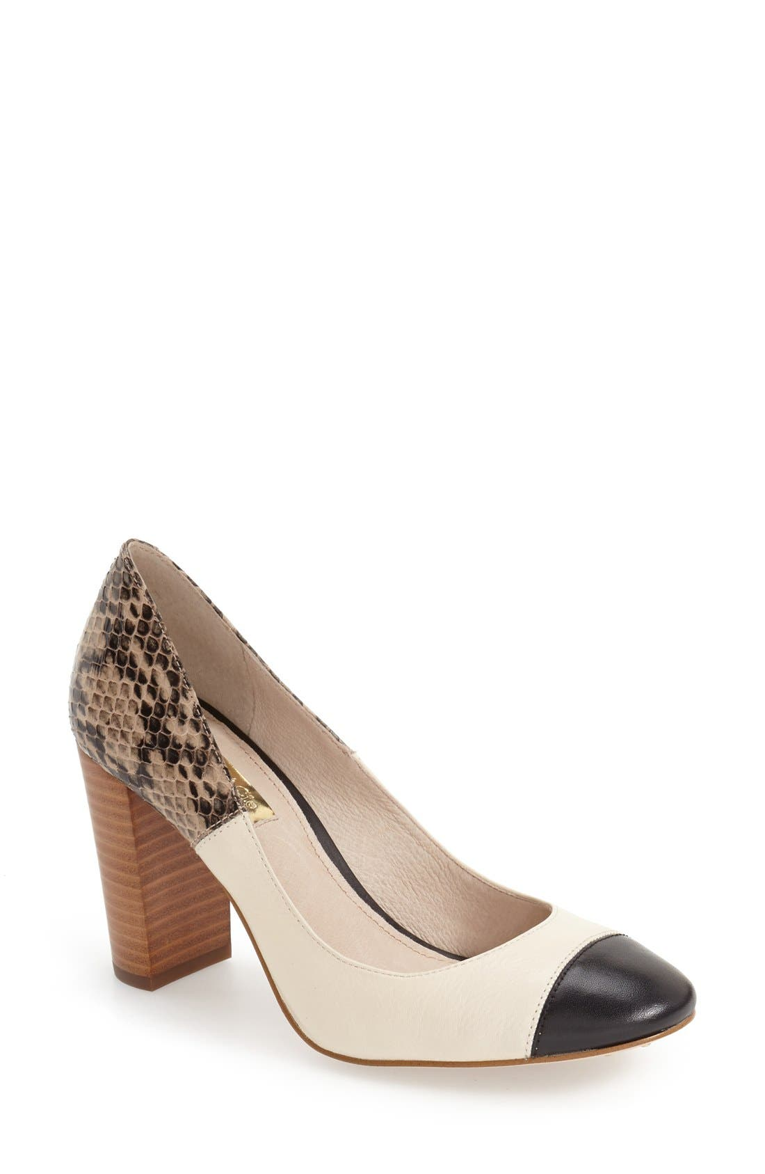 ,                             'Jakleen' Cap Toe Pump,                             Main thumbnail 1, color,                             002