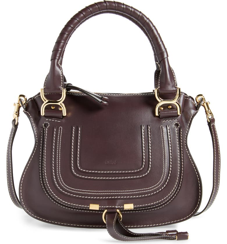 CHLOÉ Small Marcie Calfskin Leather Satchel, Main, color, BLACK RAISIN