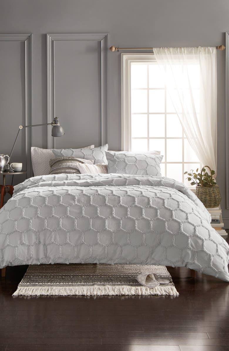 MURMUR LIVING Chenille Honeycomb Comforter & Sham Set, Main, color, GREY