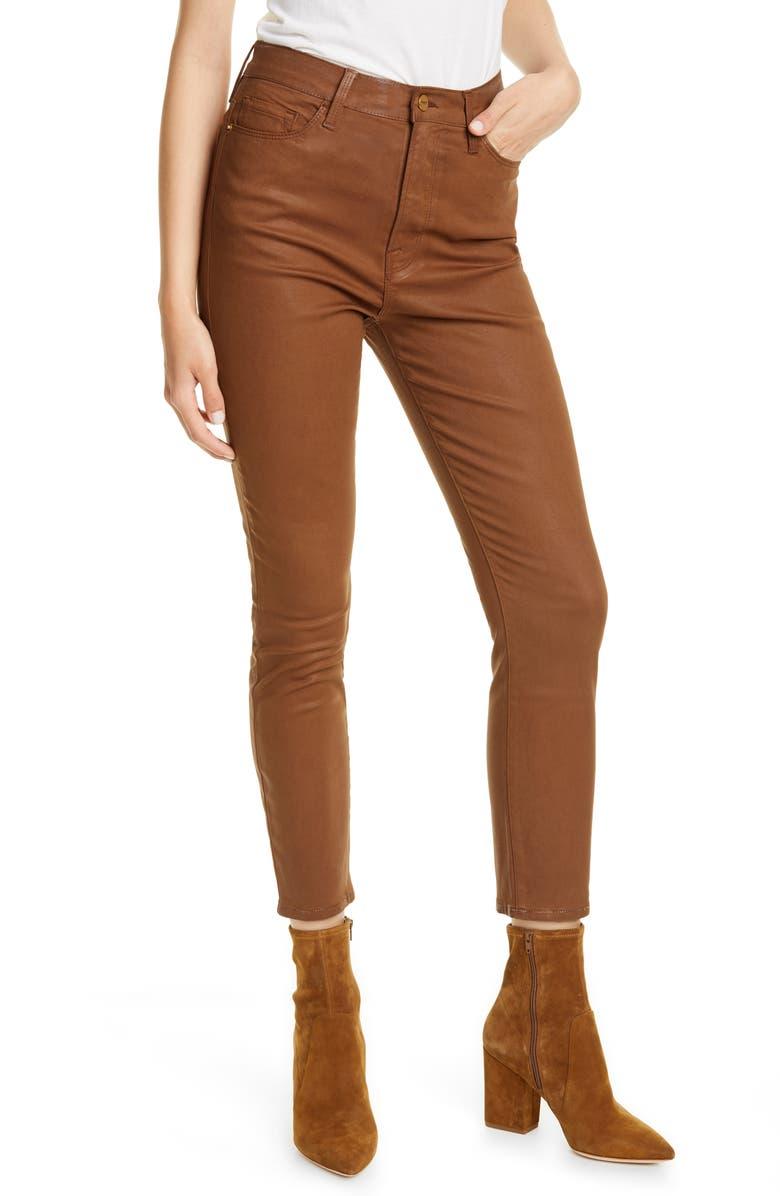 FRAME Ali Coated High Waist Crop Cigarette Jeans, Main, color, CARAMEL COATED