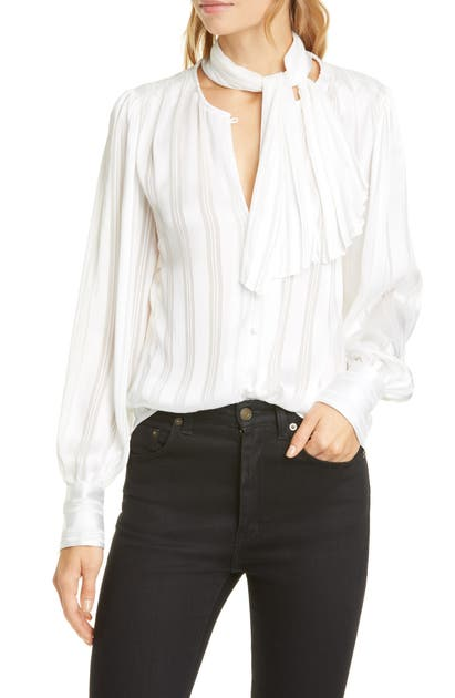 Equipment Tops TEXTURED STRIPE REMOVABLE TIE NECK BLOUSE