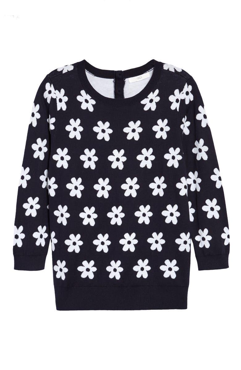 1901 Back Button Crewneck Sweater, Main, color, NAVY- WHITE DELTA DAISY