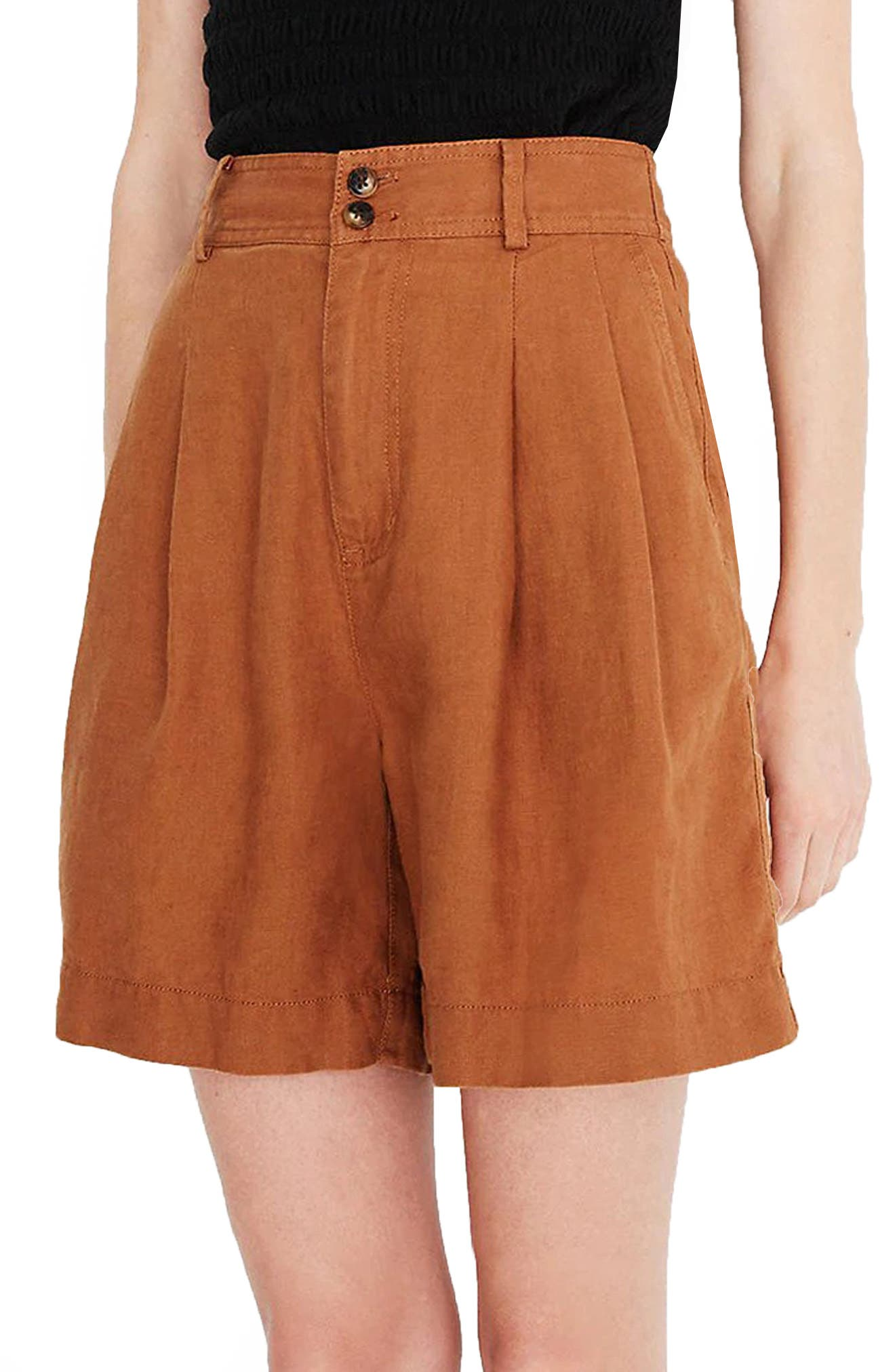 Women's Madewell Long Pleated Linen Shorts,  14 - Brown