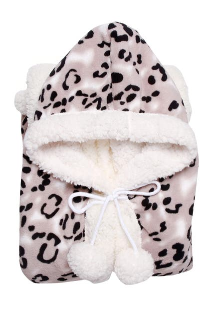 Image of Chic Home Bedding Chanda Faux Shearling Lined Hooded Wearable Blanket - Black